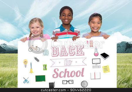 Composite image of happy pupils showing stock photo, Happy pupils showing against scenic backdrop by Wavebreak Media