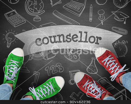 Counsellor against black background stock photo, The word counsellor and casual shoes against black background by Wavebreak Media
