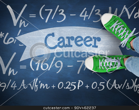 Career against blue chalkboard stock photo, The word career and casual shoes against blue chalkboard by Wavebreak Media