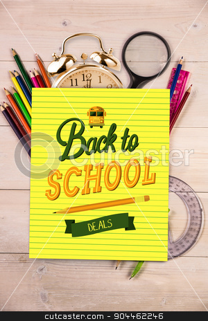 Composite image of back to school stock photo, back to school against students desk with yellow page by Wavebreak Media