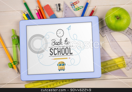 Composite image of back to school stock photo, back to school against students table with school supplies by Wavebreak Media