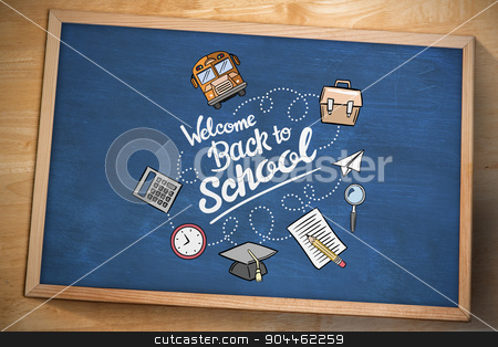 Composite image of back to school stock photo, back to school against chalkboard by Wavebreak Media