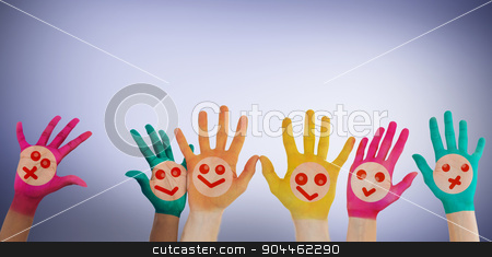 Composite image of hands with colourful smiley faces stock photo, Hands with colourful smiley faces against purple vignette by Wavebreak Media