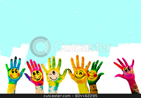 Composite image of hands with colourful smiley faces stock photo, Hands with colourful smiley faces against blue vignette background by Wavebreak Media