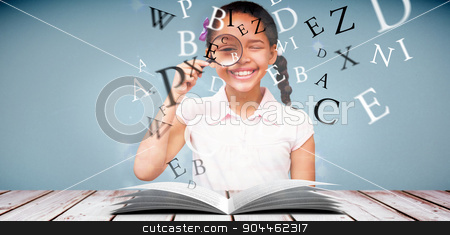 Composite image of little girl with magnifying glass stock photo, Little girl with magnifying glass against light design shimmering on silver by Wavebreak Media
