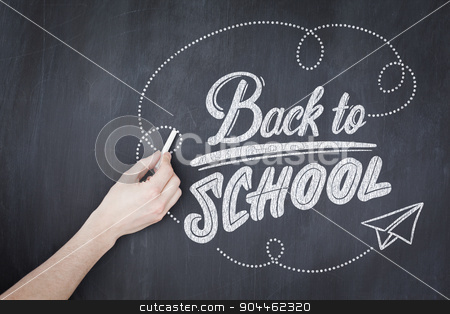 Composite image of back to school stock photo, back to school against hand writing with chalk on board by Wavebreak Media