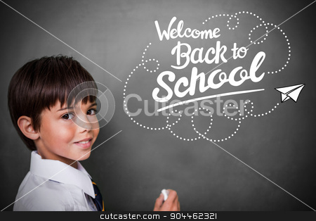 Composite image of cute pupil with chalkboard stock photo, Cute pupil with chalkboard against back to school by Wavebreak Media