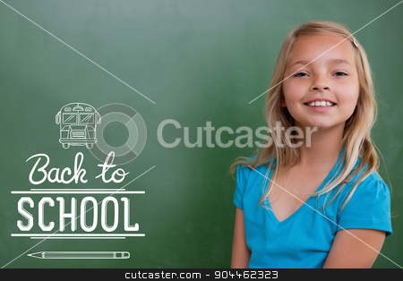 Composite image of back to school stock photo, back to school against cute pupil smiling by Wavebreak Media