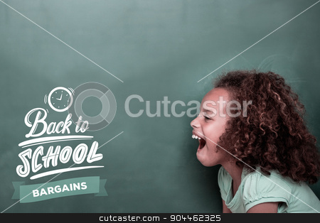 Composite image of back to school stock photo, back to school against cute pupil shouting by Wavebreak Media