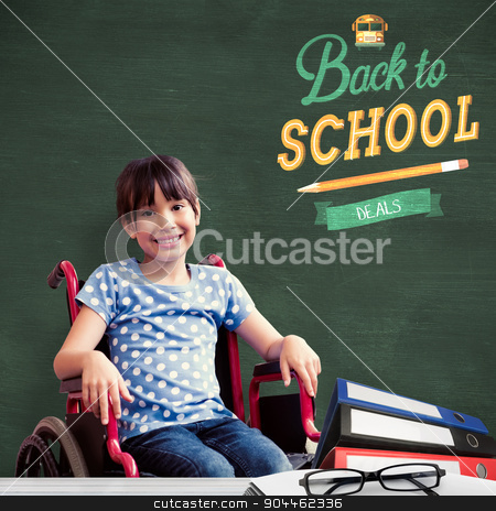 Composite image of cute disabled pupil smiling at camera in hall stock photo, Cute disabled pupil smiling at camera in hall  against green chalkboard by Wavebreak Media