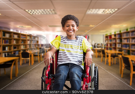 Composite image of cute disabled pupil smiling at camera in hall stock photo, Cute disabled pupil smiling at camera in hall against view of library by Wavebreak Media
