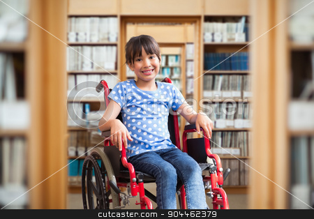 Composite image of cute disabled pupil smiling at camera in hall stock photo, Cute disabled pupil smiling at camera in hall  against library by Wavebreak Media