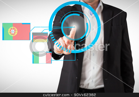 Composite image of businessman standing and pointing stock photo, Businessman standing and pointing against blue interface by Wavebreak Media