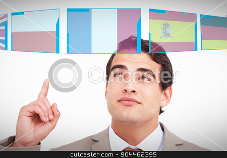 Composite image of close up of salesman looking and pointing up stock photo, Close up of salesman looking and pointing up against white background with vignette by Wavebreak Media
