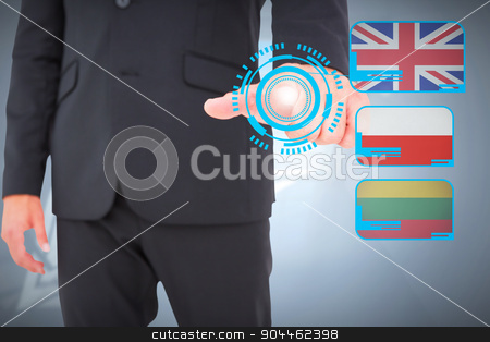 Composite image of businessman pointing with finger stock photo, Businessman pointing with finger against room with large windows by Wavebreak Media