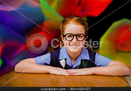 Composite image of smiling pupil stock photo, Smiling pupil against colourful abstract design by Wavebreak Media