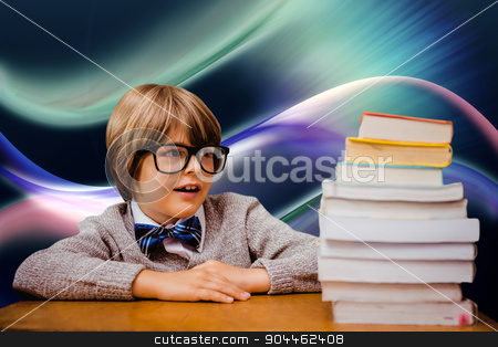 Composite image of cute pupil with pile of books stock photo, Cute pupil with pile of books against glowing abstract design by Wavebreak Media