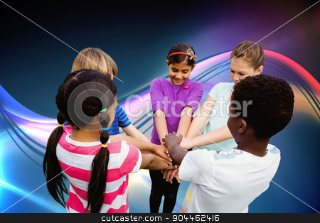 Composite image of children holding hands together at park stock photo, Children holding hands together at park against glowing abstract design by Wavebreak Media