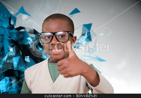 Composite image of cute pupil with thumbs up stock photo, Cute pupil with thumbs up against angular design by Wavebreak Media