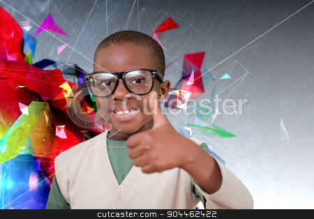 Composite image of cute pupil with thumbs up stock photo, Cute pupil with thumbs up against geometric design by Wavebreak Media