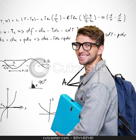 Composite image of student smiling at camera in library stock photo, Student smiling at camera in library against maths equations by Wavebreak Media