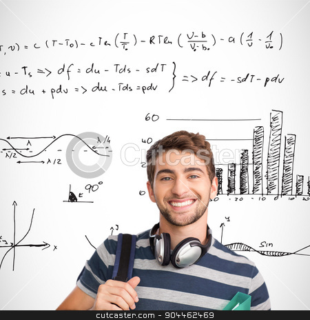 Composite image of smiling student stock photo, Smiling student against maths equations by Wavebreak Media