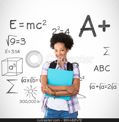 Composite image of casual young woman with folder in office stock photo, Casual young woman with folder in office against math doodles by Wavebreak Media