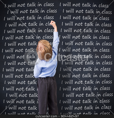 Composite image of cute pupil writing stock photo, Cute pupil writing against blackboard by Wavebreak Media