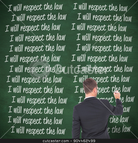 Composite image of business man writing with chalk stock photo, Business man writing with chalk against green chalkboard by Wavebreak Media