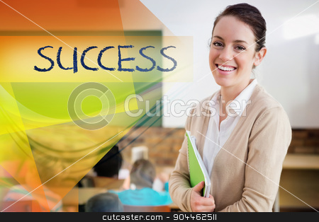Success against pretty teacher smiling at camera at back of clas stock photo, The word success against pretty teacher smiling at camera at back of classroom by Wavebreak Media