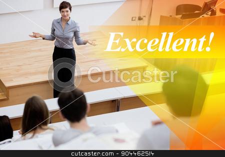 Excellent! against teacher standing talking to the students stock photo, The word excellent! against teacher standing talking to the students by Wavebreak Media