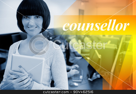Counsellor against teacher with tablet pc stock photo, The word counsellor against teacher with tablet pc by Wavebreak Media