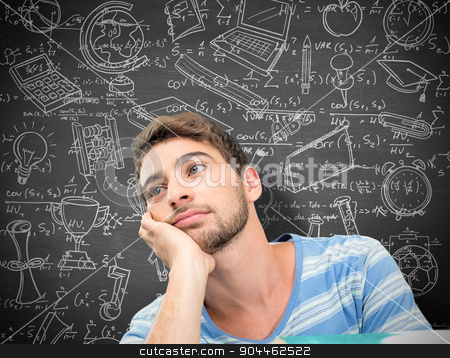 Composite image of student daydreaming stock photo, Student daydreaming against black background by Wavebreak Media