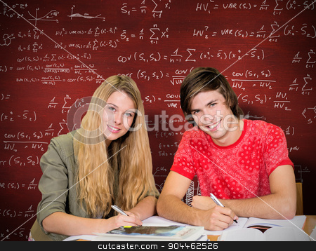 Composite image of students studying stock photo, Students studying against desk by Wavebreak Media