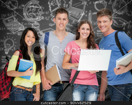 Composite image of a smiling group of students holding a laptop  stock photo, A smiling group of students holding a laptop while looking at the camera against black background by Wavebreak Media