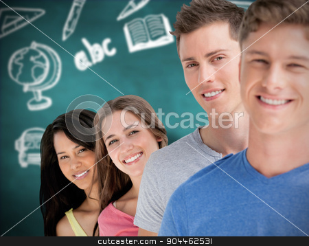 Composite image of four people standing in a line with each pers stock photo, Four people standing in a line with each person angled out a little more  against green chalkboard by Wavebreak Media