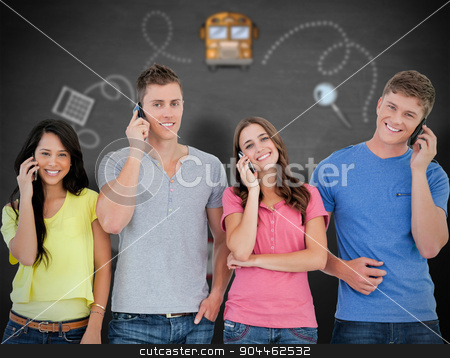 Composite image of a smiling group of friends make calls while l stock photo, A smiling group of friends make calls while looking into the camera against black background by Wavebreak Media