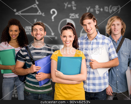 Composite image of students holding folders in college stock photo, Students holding folders in college against black background by Wavebreak Media