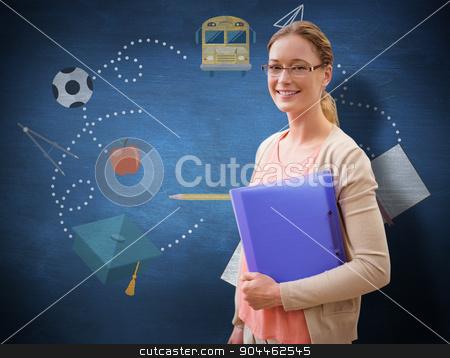 Composite image of teaching student stock photo, Teaching student against blue chalkboard by Wavebreak Media