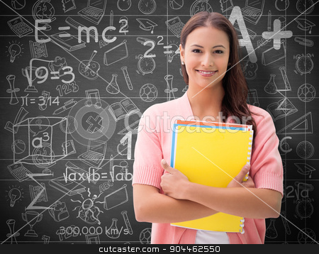 Composite image of pretty student smiling at camera stock photo, Pretty student smiling at camera against black background by Wavebreak Media