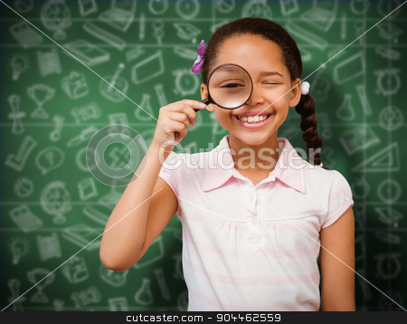 Composite image of little girl with magnifying glass stock photo, Little girl with magnifying glass against green chalkboard by Wavebreak Media