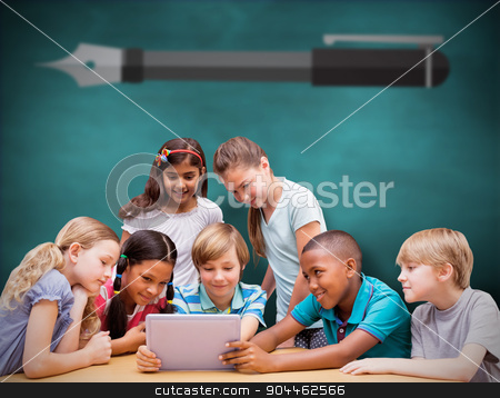 Composite image of cute pupils using tablet computer in library  stock photo, Cute pupils using tablet computer in library  against green chalkboard by Wavebreak Media