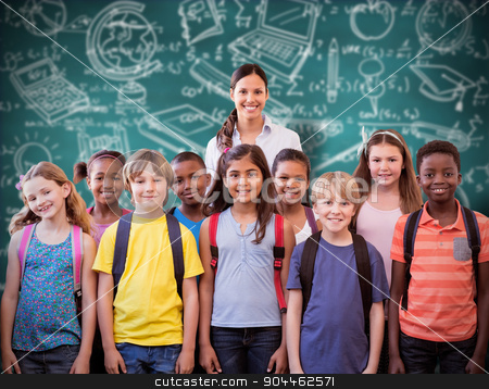 Composite image of cute pupils smiling at camera in the hall  stock photo, Cute pupils smiling at camera in the hall  against green chalkboard by Wavebreak Media