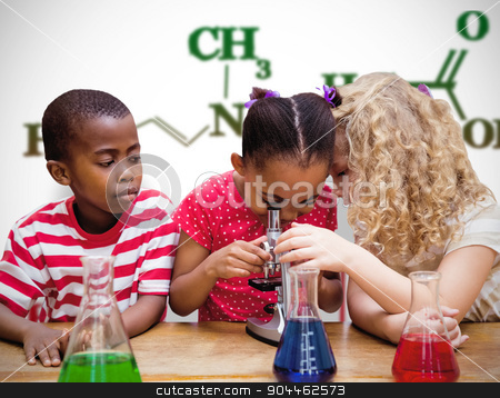 Composite image of cute pupil looking through microscope stock photo, Cute pupil looking through microscope against white background with vignette by Wavebreak Media