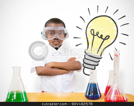 Composite image of pupil conducting science experiment stock photo, Pupil conducting science experiment against white background with vignette by Wavebreak Media