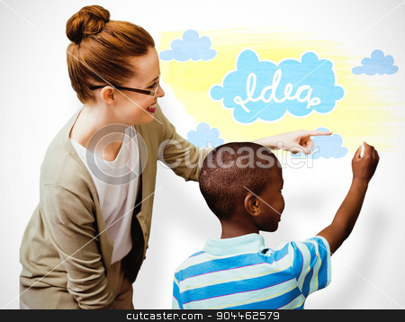 Composite image of happy pupil and teacher stock photo, Happy pupil and teacher against white background with vignette by Wavebreak Media