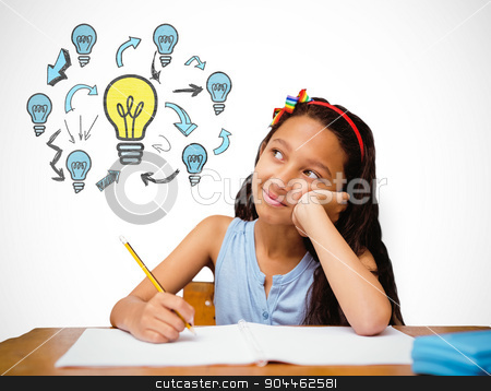 Composite image of cute pupil at desk stock photo, Cute pupil at desk against white background with vignette by Wavebreak Media