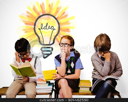 Composite image of school kids stock photo, School kids against white background with vignette by Wavebreak Media