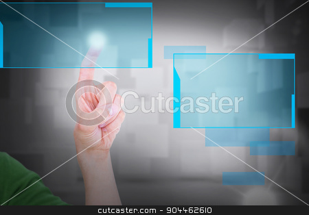 Composite image of cropped image of man touching an invisible sc stock photo, Cropped image of man touching an invisible screen against room with floating cubes by Wavebreak Media