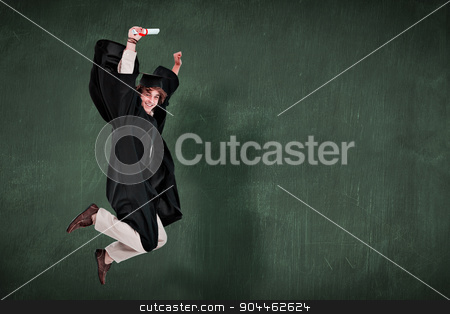 Composite image of happy male student in graduate robe jumping stock photo, Happy male student in graduate robe jumping against green chalkboard by Wavebreak Media